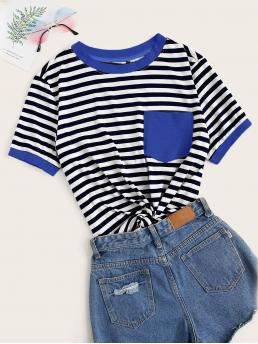 Women's Short Sleeve Pocket Polyester Striped Patched Ringer Tee