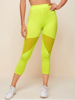 Beautiful Lime Green Sheer Regular Plain Neon Lime Mesh Insert Leggings