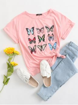 Casual Animal Regular Fit Round Neck Short Sleeve Roll Up Sleeve Pullovers Baby Pink Regular Length Butterfly Print Cuffed Top