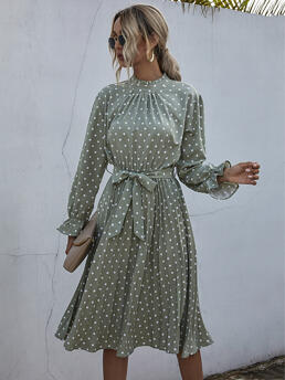 Mint Green Polka Dot Plicated Stand Collar Neck Dress on Sale