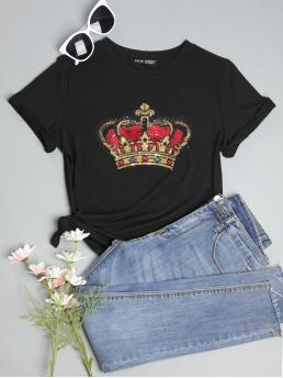 Shopping Short Sleeve Contrast Sequin Polyester Graphic Crown Sequin Pattern Top