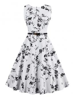 Vintage Fit and Flare Floral Ball Gown Regular Fit Boat Neck Sleeveless Natural Black and White Midi Length All Over Flower Flare Dress With Belt with Belt