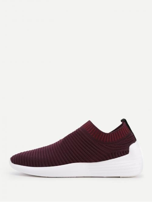 Corduroy Burgundy Slip on Bow Knit Design Low Top Sneakers Ladies