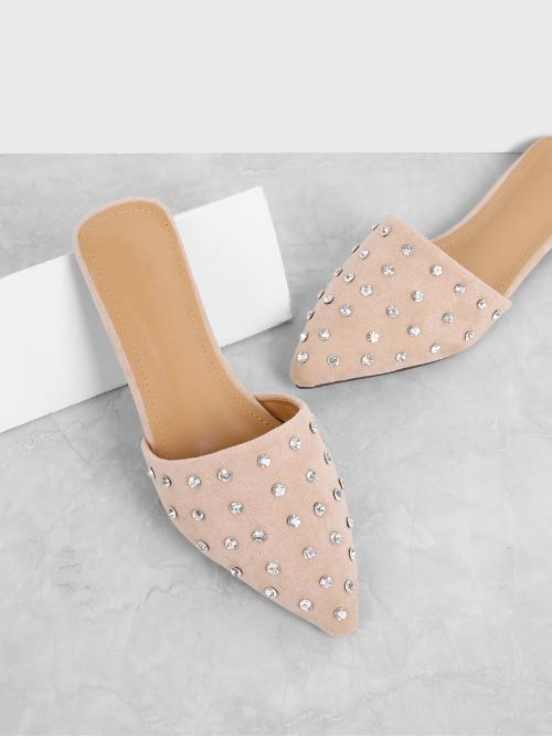 Women's Corduroy Pink Mules Rhinestone Decorated Mule Flats