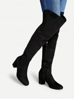 Other Round Toe Plain Side zipper Black Mid Heel Chunky Block Heeled Thigh High Suede Boots