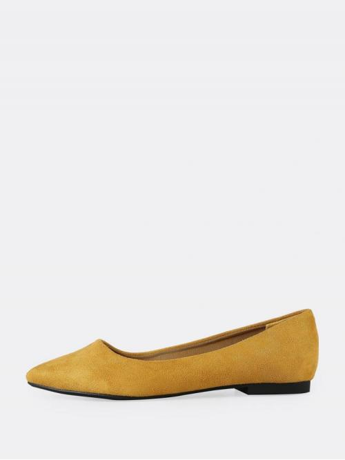 Corduroy Mustard Yellow Ballet Spiked Wide Fit Faux Pointed Toe Flats on Sale