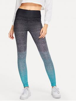 Sporty Regular Colorblock Multicolor Cropped Length Wide Waistband Ombre Leggings