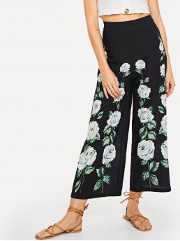 Shopping Black Natural Waist Tiered Layer Wide Leg Pants