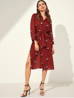 Boho Geometric and Animal Loose Collar Long Sleeve Natural Burgundy Midi Length Waist Belted Button Mixed Print Dress with Belt
