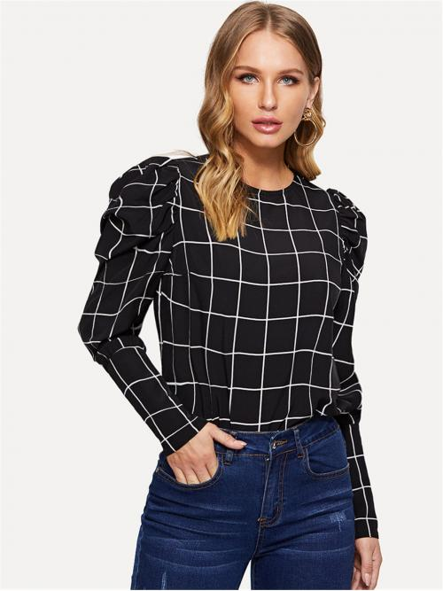 Casual Top Regular Fit Round Neck Long Sleeve Pullovers Black and White Regular Length Puff Sleeve Grid Pullover