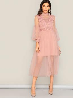 Romantic A Line Plain Regular Fit Stand Collar Long Sleeve High Waist Pink and Pastel Long Length Pearl Beaded Bishop Sleeve Sheer Mesh Overlay Dress