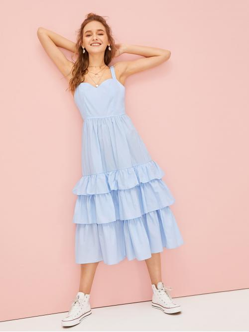 Cute Cami Plain Layered/Tiered Straps Sleeveless High Waist Blue Long Length Tiered Layer Solid Slip Dress