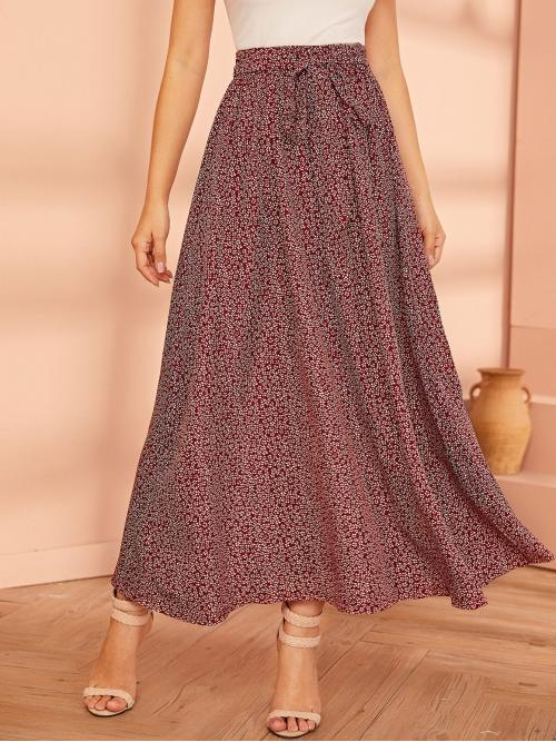 Casual A Line Ditsy Floral High Waist Red Long/Full Length Ditsy Floral Print Belted Skirt