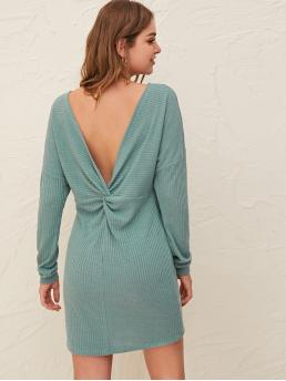 Sexy Fitted Plain Straight Regular Fit Round Neck Long Sleeve Batwing Sleeve Natural Green and Pastel Short Length Twist Detail Low Back Drop Shoulder Rib-knit Dress