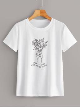 Casual Floral and Slogan Regular Fit Round Neck Short Sleeve Regular Sleeve Pullovers White Regular Length Floral & Slogan Graphic Tee
