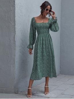 Womens Dark Green Ditsy Floral Ruffle Square Neck Bell Sleeve Shirred Bodice Dress