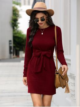 Women's Burgundy Plain Tie Front Round Neck Crew Neck Rib-knit Dress