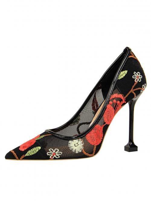 Court Point Toe Floral Red Ultra High Heel Sculptural Heels Floral Embroidered Ultra High Heel Pumps