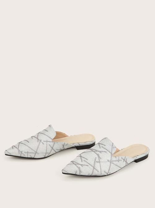 Silver Mules Point Toe Glitter Embroidery Decor Flat Cheap