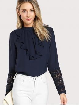 Elegant Plain Top Regular Fit Stand Collar Long Sleeve Navy Jabot Collar Guipure Lace Cuff Top