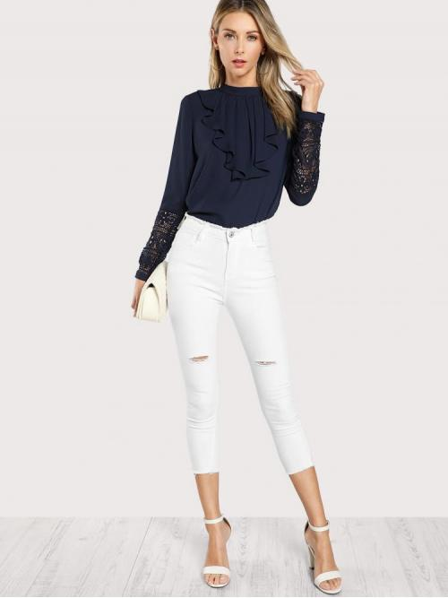 Long Sleeve Top Button Polyester Jabot Collar Guipure Lace Cuff Top Clearance