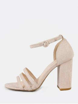 Corduroy Apricot Court Pumps Cut out Fauxpy Thin Ankle Cuff Heel Nude Sale