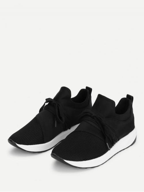 Clearance Corduroy Black Skate Shoes Bow Net Design Sneakers