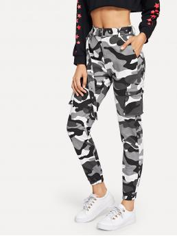 Sporty Camo Cargo Pants Regular Zipper Fly Mid Waist Multicolor Cropped Length Camo Print Ring Detail Belted Utility Pants with Belt
