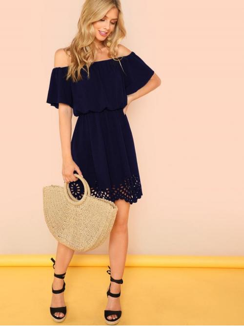 Pretty Navy Blue Plain Scallop off the Shoulder Cutout Dress