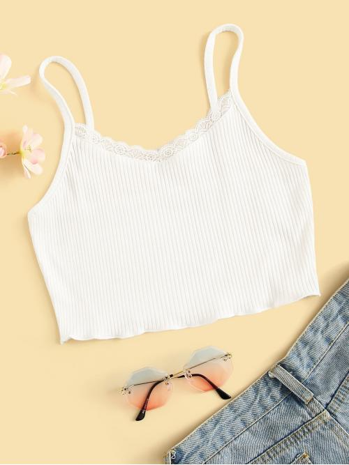 Casual Cami Plain Regular Fit Spaghetti Strap White Crop Length Contrast Lace Ribbed Cami Top