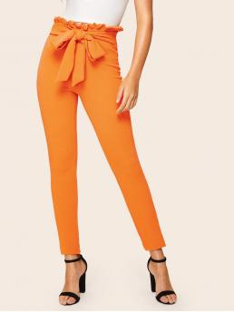 Casual Plain Skinny Elastic Waist High Waist Orange and Bright Cropped Length Neon Orange Paperbag Waist Belt Skinny Pants with Belt