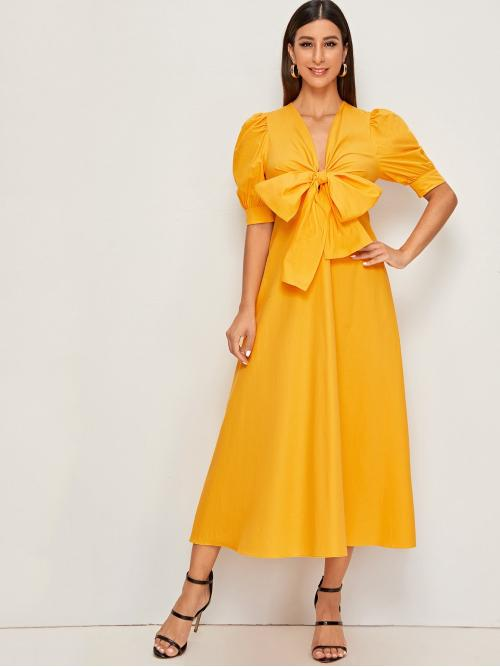 Glamorous A Line Plain Flared Regular Fit Deep V Neck Short Sleeve High Waist Yellow and Bright Long Length Exaggerate Bow Tie Front Puff Sleeve Solid Dress