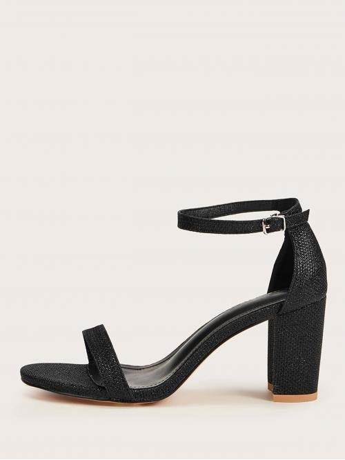 Business Casual Plain Ankle Strap Black High Heel Chunky Open Toe Ankle Strap Glitter Chunky Heels