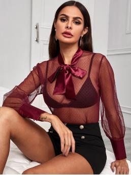 Sexy Polka Dot Top Regular Fit Long Sleeve Regular Sleeve Pullovers Burgundy Regular Length Tie Neck Sheer Mesh Blouse
