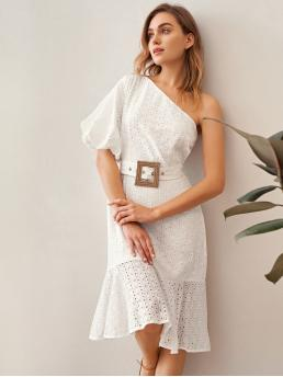 Boho A Line Plain Flounce Regular Fit One Shoulder Short Sleeve High Waist White Midi Length One Shoulder Puff Sleeve Schiffy Dress With Belt with Belt with Lining