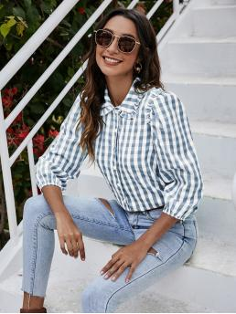 Fashion Three Quarter Length Sleeve Shirt Button Front Polyester Frill Trim Blouse
