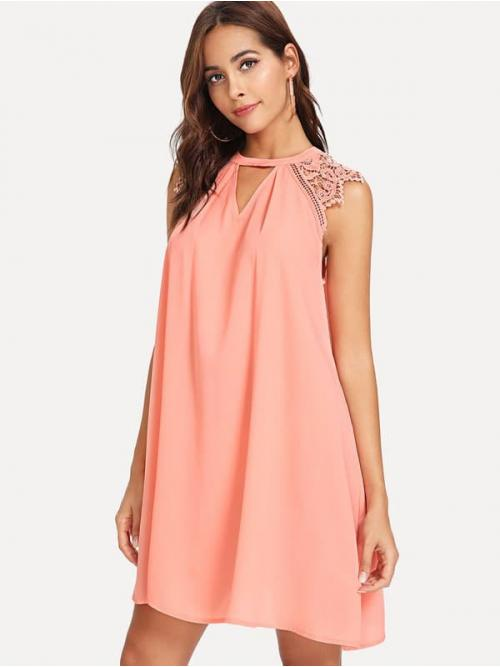Sale Pink Plain Button V Neck V Cut Neck Guipure Lace Insert Dress