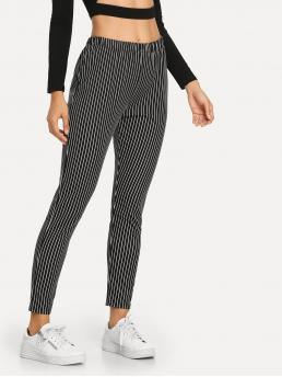Discount Black and White Natural Waist Double Button Striped Pants