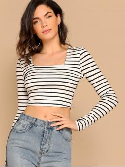 Casual Striped Slim Fit Square Neck Long Sleeve Pullovers Black and White Crop Length Form Fitted Striped Crop Tee
