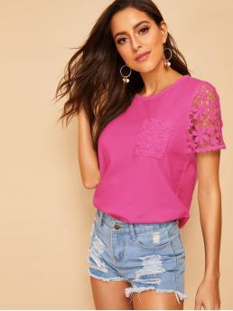 Casual Plain Regular Fit Round Neck Short Sleeve Pullovers Pink and Bright Regular Length Neon Pink Lace Insert Top