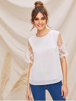 Casual Plain Top Regular Fit Round Neck Short Sleeve Regular Sleeve Pullovers White Regular Length Embroidered Mesh Sleeve Solid Top