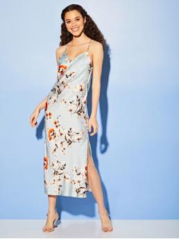Glamorous and Sexy Cami Floral Slit Loose Cowl Neck Sleeveless Natural Blue and Pastel Long Length Floral Satin Slip Dress
