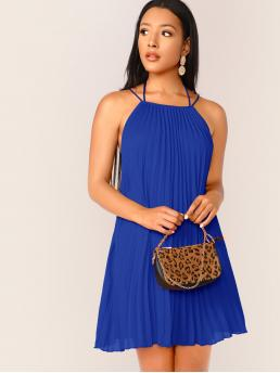 Sexy Cami Plain Straight Loose Halter Sleeveless Natural Blue and Bright Short Length Tie Neck Crisscross Backless Pleated Halter Dress