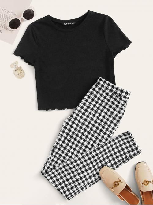 Casual Gingham Skinny Slim Fit Round Neck Short Sleeve Black and White Lettuce Trim Solid Top & Gingham Print Pants Set