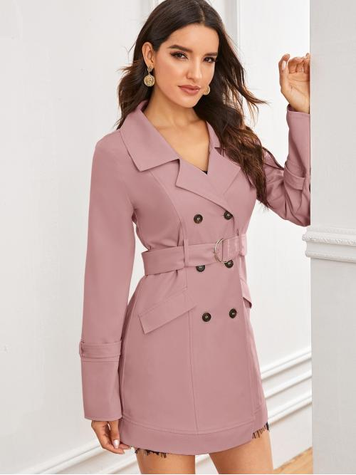Elegant Trench Coat Plain Regular Fit Lapel Long Sleeve Regular Sleeve Double Breasted Pink and Pastel Short Length Notch Collar Double Breasted Front Self Belted Coat with Belt