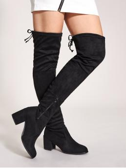 Glamorous Sock Boots Round Toe Plain Side zipper Black High Heel Chunky Tie Back Over The Knee Chunky Boots
