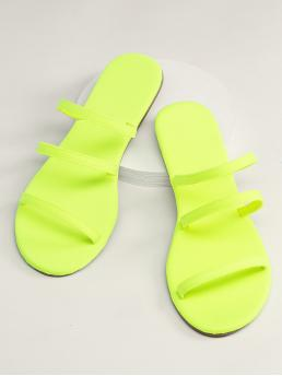 Comfort Plain Strappy Green and Bright Neon Triple Strap Open Toe Flat Slide Sandals