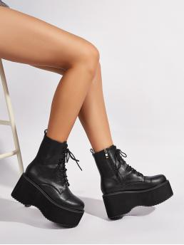Black Combat Boots High Heel Chunky Lace-up Front Platform on Sale