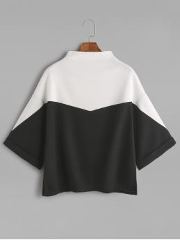 Casual Colorblock Oversized High Neck Three Quarter Length Sleeve Batwing Sleeve Black and White Color Block Mock Neck Slit Side Cuffed T-shirt