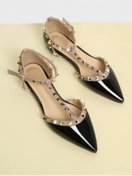 Glamorous Point Toe T strap and Ankle Strap Black T-strap Studded Ballet Flats